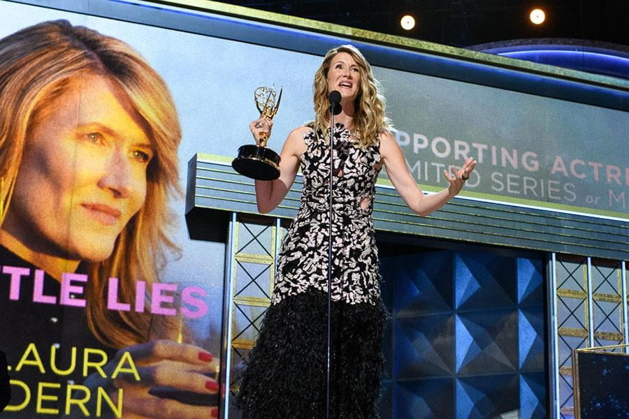 Laura Dern accepts an award at the 69th Emmy Awards.