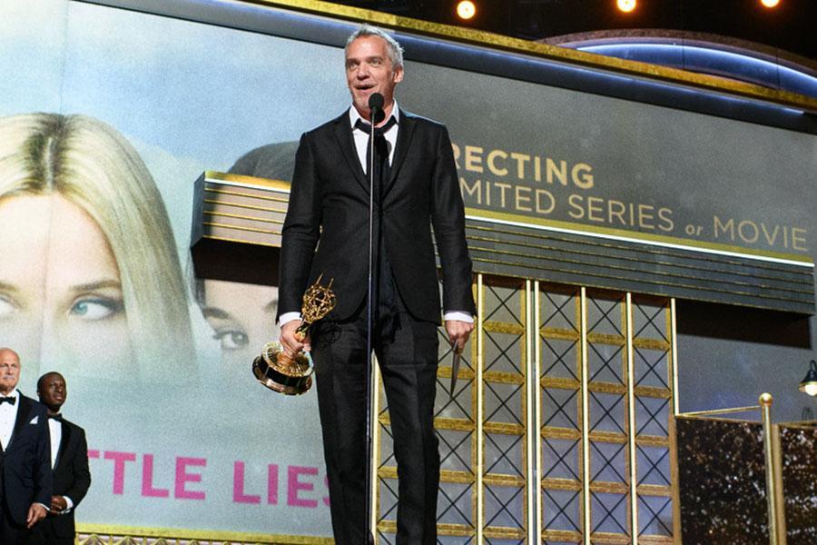 Jean-Marc Vallée accepts an award at the 69th Emmy Awards.