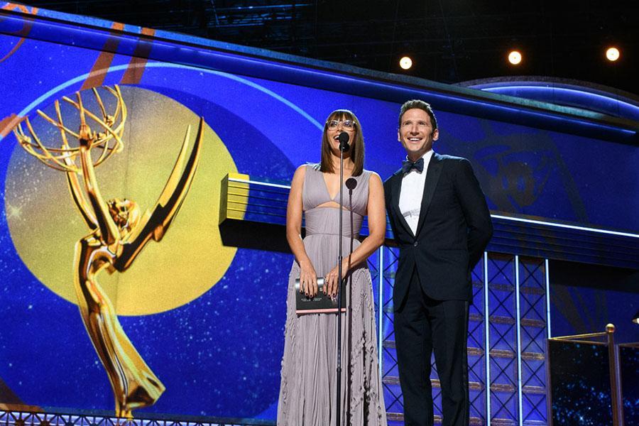 Rashida Jones and Mark Feuerstein on stage at the 69th Emmy Awards.
