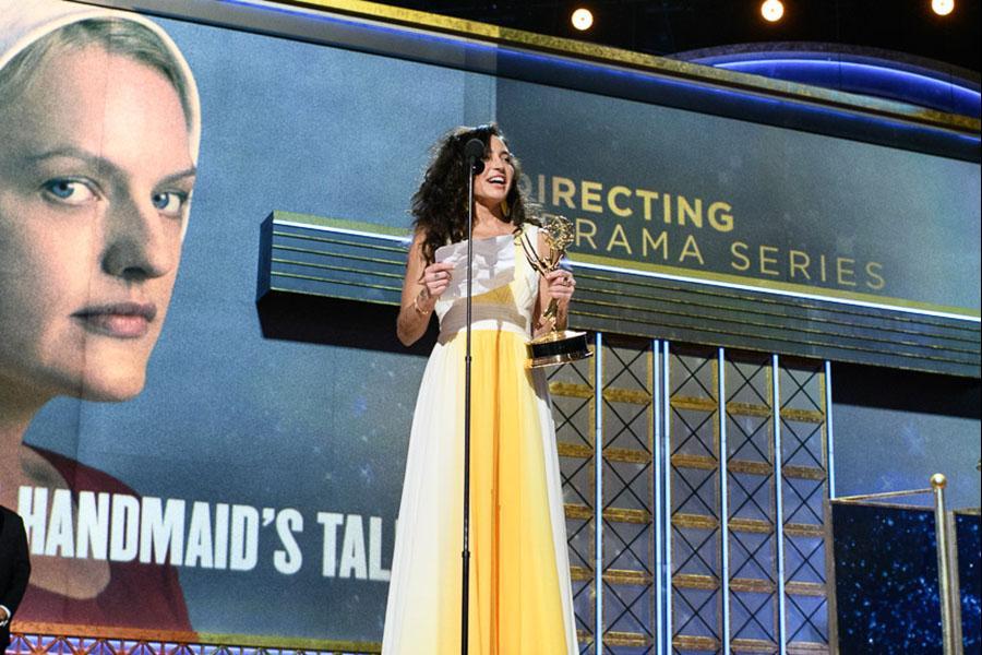 Reed Morano accepts an award at the 69th Emmy Awards.