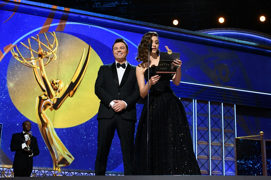Seth MacFarlane and Emmy Rossum present an award at the 69th Emmy Awards.