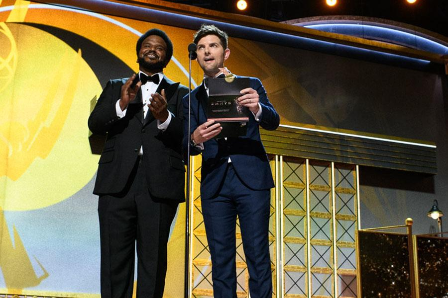 Craig Robinson and Adam Scott present an award at the 69th Primetime Emmys.