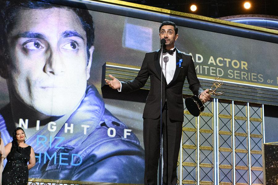 Riz Ahmed accepts his award at the 69th Primetime Emmys