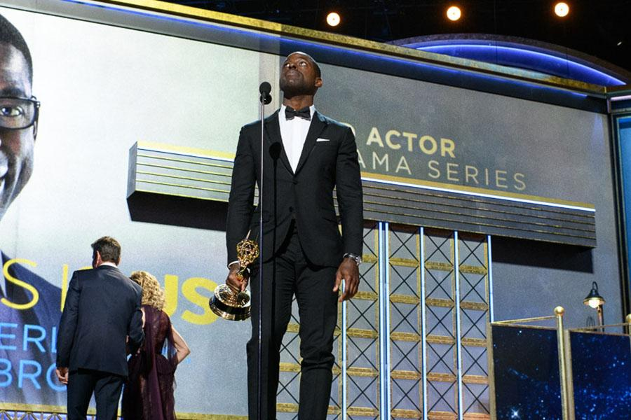 Sterling K. Brown accepts his award at the 69th Emmy Awards.