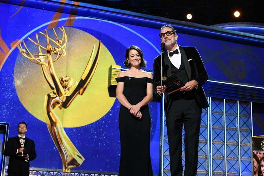 Tatiana Maslany and Jeffrey Dean Morgan present an award at the 69th Primetime Emmys.