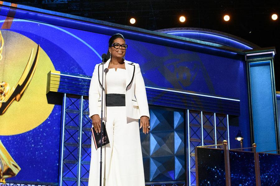 Oprah Winfrey presents an award at the 69th Primetime Emmys