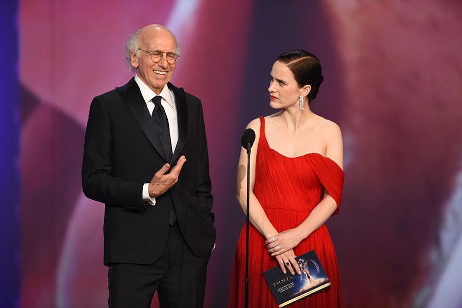 Larry David and Rachel Brosnahan