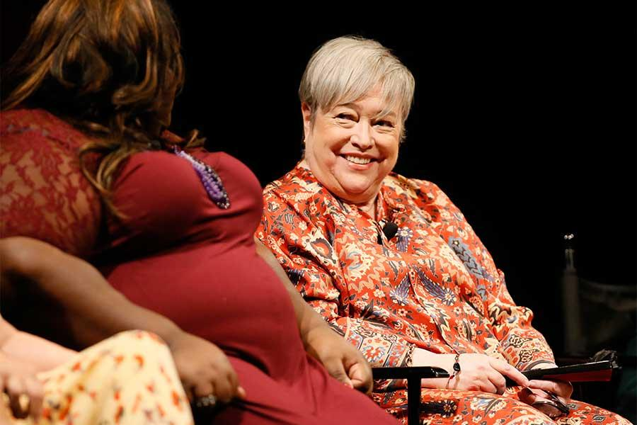 Gabourey Sidibe and Kathy Bates onstage at An Evening with the Women of American Horror Story in Hollywood, California.
