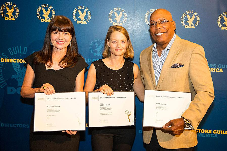 Gail Mancuso, Jodie Foster and Paris Barclay at the Directors Nominee Reception at the Directors Guild of America in West Hollywood, California.