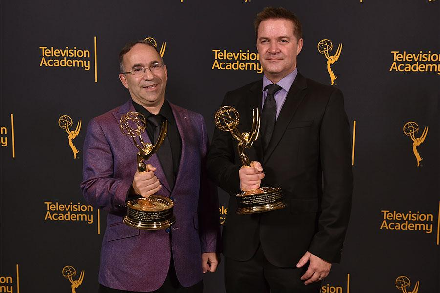 Glenn Sanders and Howard Stark at the 68th Engineering Emmy Awards, October 28, 2016 at Loews Hollywood Hotel in Los Angeles, California.