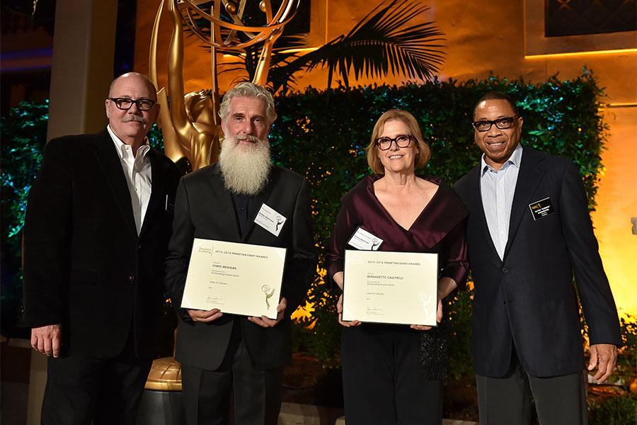 Television Academy governor Tim Gibbons, Chris Newman, Bernadette Caulfield, and Television Academy governor Hayma Washington at the producers nominee reception, September 15, 2016, at the Montage in Beverly Hills, California.