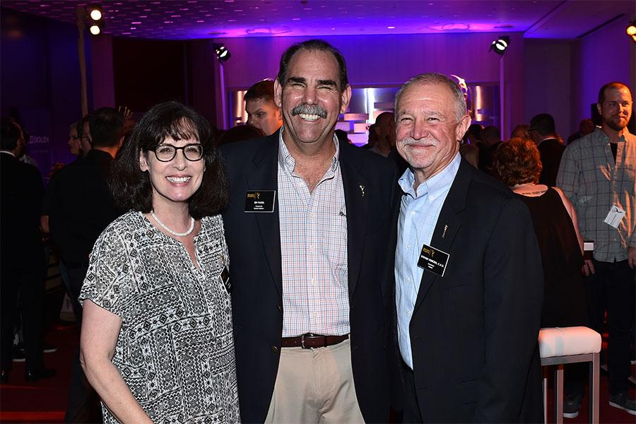Television Academy governors Ruth Adelman, Ed Fassl, and Steve Venezia at the Sound Editing and Sound Mixing nominee reception, September 8, 2016 at the Saban Media Center in North Hollywood, California.