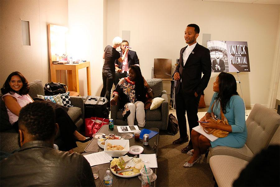 Guests and speakers gather in the Green Room at Unlock Our Potential at the Television Academy's Saban Media Center, August 9, 2016.