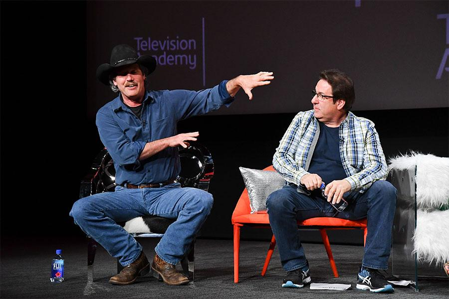 "Gary Hartle and Jeff Bergman onstage at ""But the Characters Live On!"" in the Wolf Theatre at the Saban Media Center in North Hollywood, California, March 2, 2017."