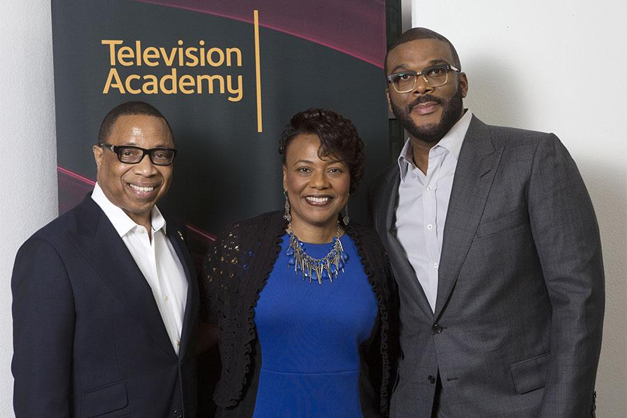 """Television Academy Chairman and CEO Hayma Washington with Dr. Bernice A. King and Tyler Perry at the Television Academy's first member event in Atlanta, """"A Conversation with Tyler Perry,"""" at the Woodruff Arts Center on Thursday, May 4, 2017."""