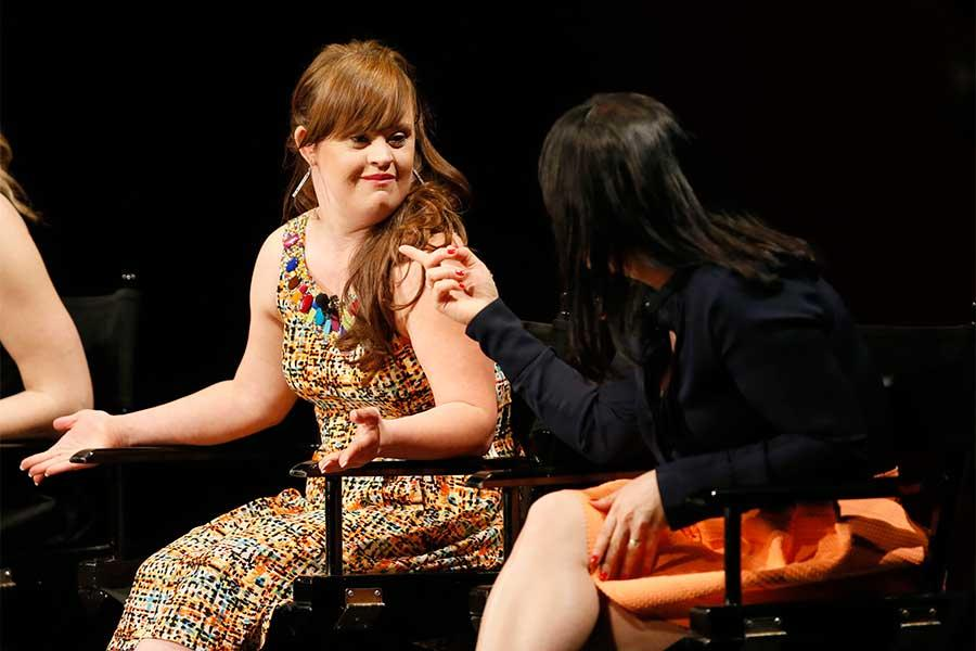 Jamie Brewer and Alexis Martin Woodall onstage at An Evening with the Women of American Horror Story in Hollywood, California.