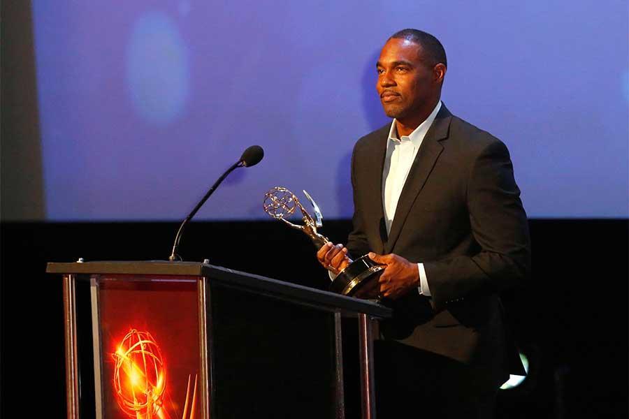 Jason George presents an award at the 68th Los Angeles Area Emmys, July 23, 2016, at the Saban Media Center, North Hollywood, California.