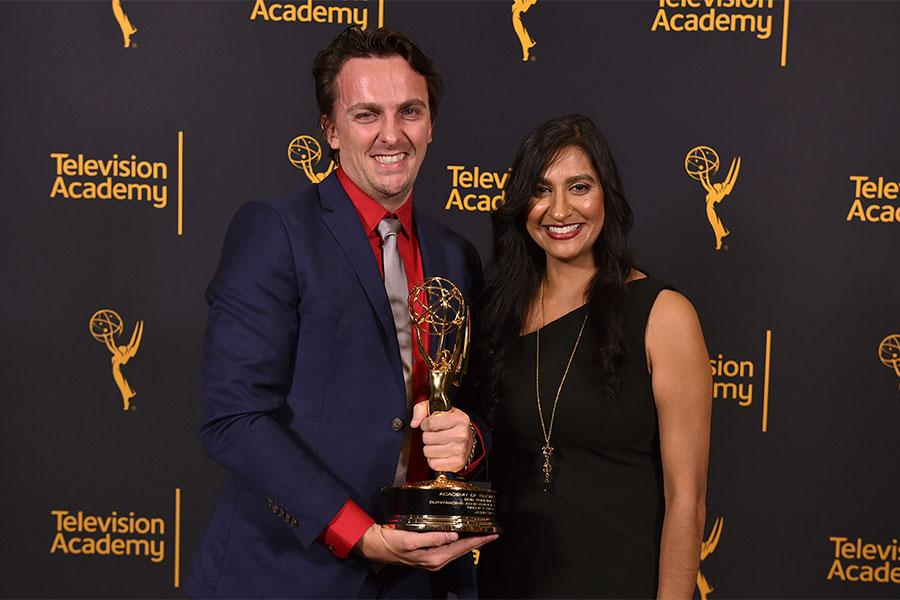 Jason Jamieson and Shruti Patel at the 68th Engineering Emmy Awards, October 28, 2016 at Loews Hollywood Hotel in Los Angeles, California.