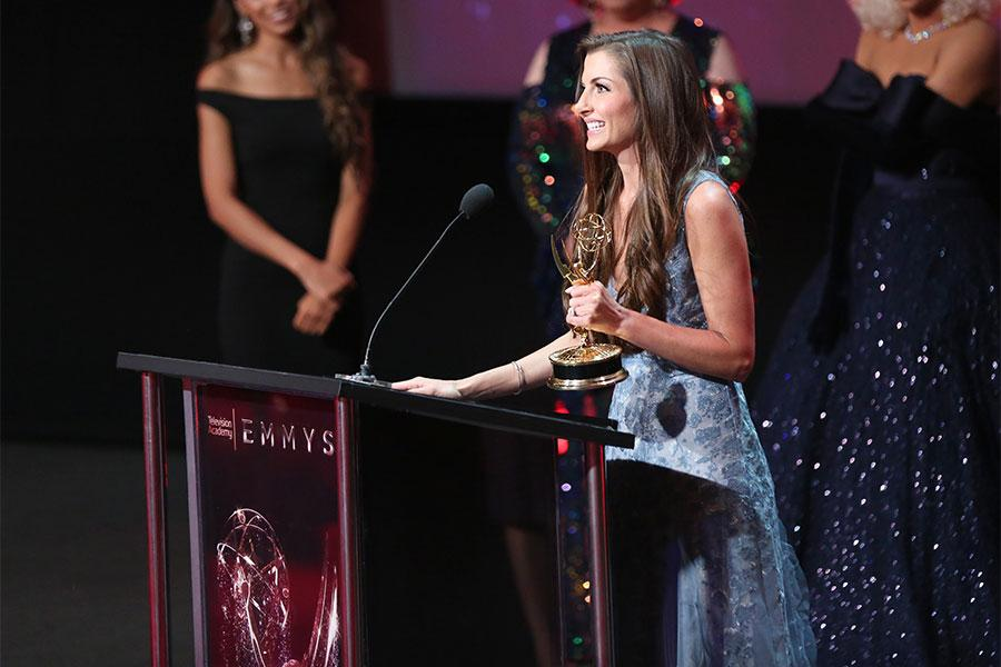 Jenna Susko at the L.A. Area Emmy Awards presented at the Television Academy's Wolf Theatre at the Saban Media Center on Saturday, July 22, 2017, in North Hollywood, California.