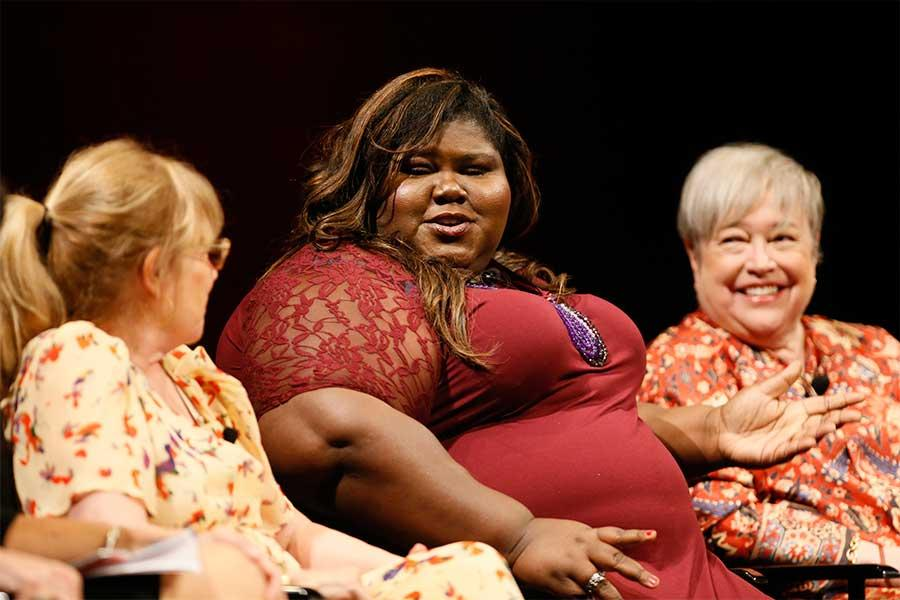 Jennifer Salt, Gabourey Sidibe and Kathy Bates onstage at An Evening with the Women of American Horror Story in Hollywood, California.