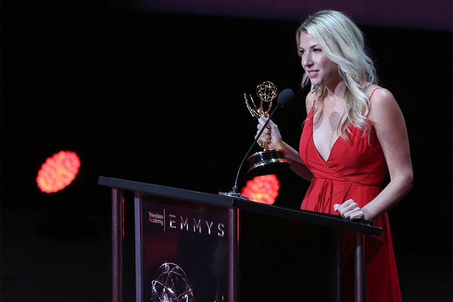 Jennifer Kastner at the L.A. Area Emmy Awards presented at the Television Academy's Wolf Theatre at the Saban Media Center on Saturday, July 22, 2017, in North Hollywood, California.