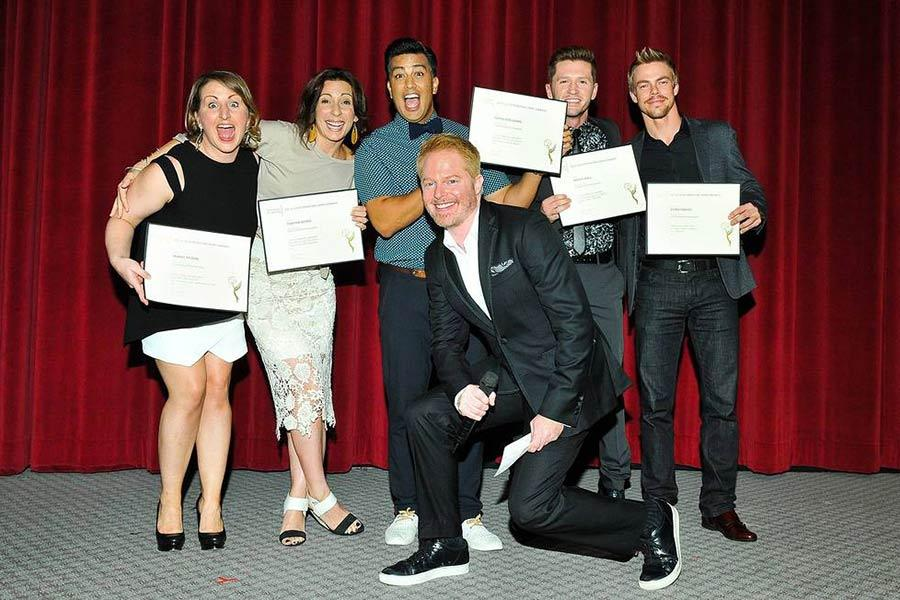 Jesse Tyler Ferguson (front) with choreography nominees (l-r): Mandy Moore, Tabitha D'Umo, Napoleon D'Umo, Travis Wall and Derek Hough at the Choreographers Nominee Reception in North Hollywood, California.