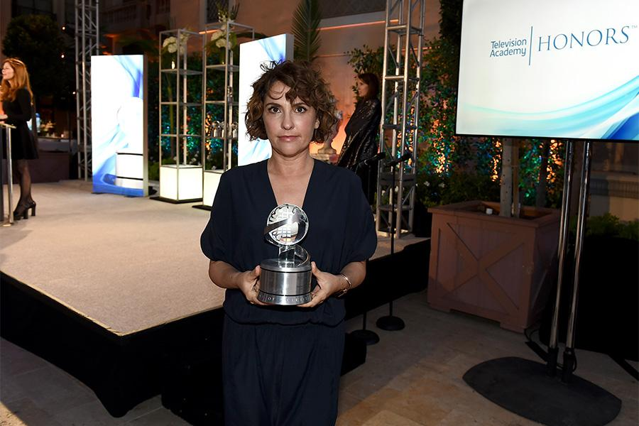 Jill Soloway with her award for Transparent at the awards presentation at the Eighth Annual Television Academy Honors, May 27 at the Montage Beverly Hills.