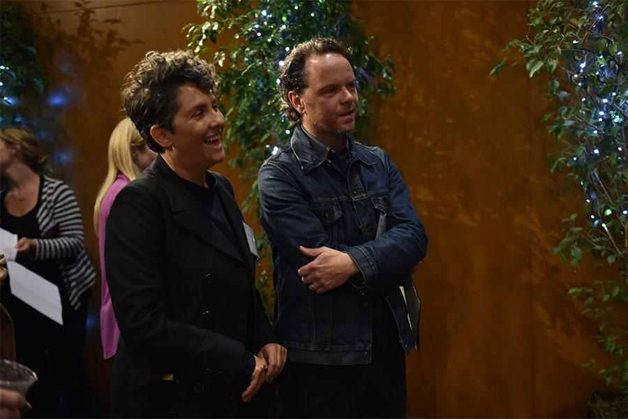 Jill Soloway and Noah Hawley at the directors nominee reception, September 13, 2016, at the Directors Guild of America headquarters in Los Angeles, California.