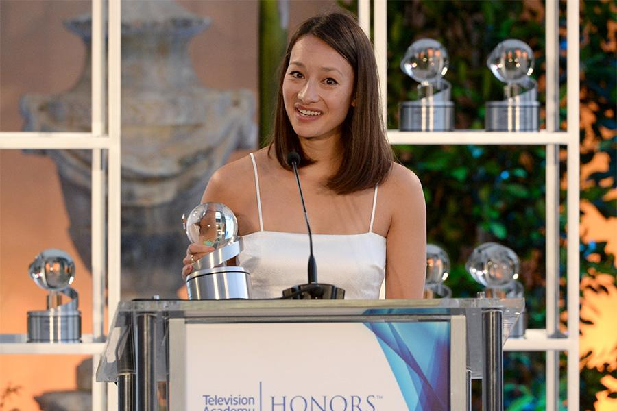 Joanna Natasegara accepts the award for Virunga at the awards presentation at the Eighth Annual Television Academy Honors, May 27 at the Montage Beverly Hills.