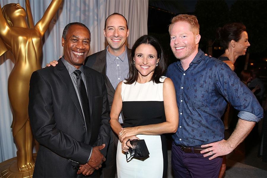 66th Primetime Emmy nominees Joe Morton, Tony Hale, Julia Louis-Dreyfus, and Jesse Tyler Ferguson at the Performers Peer Group nominee reception.