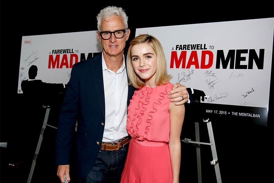 "John Slattery and Kiernan Shipka at ""A Farewell to Mad Men,"" May 17, 2015 at the Montalbán Theater in Hollywood, California."