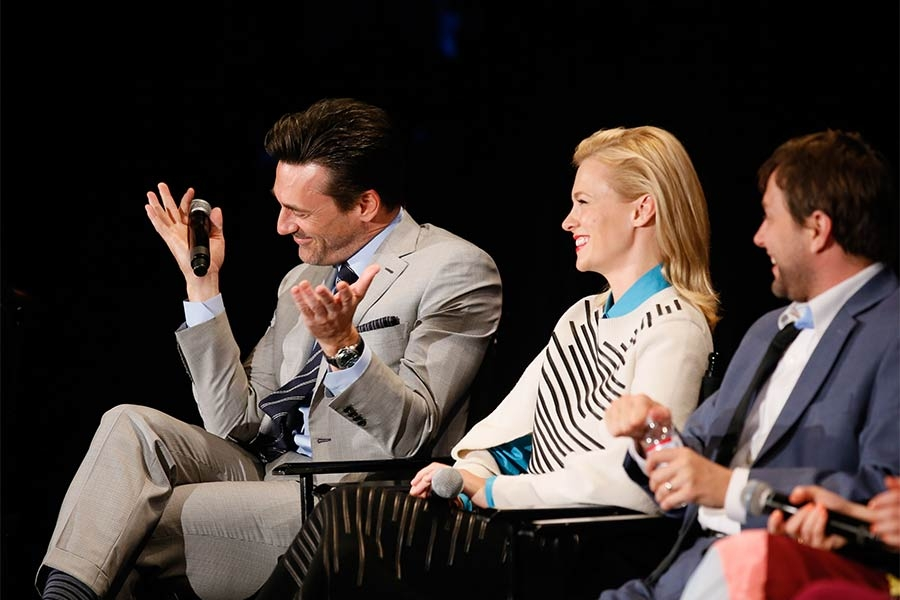 "Jon Hamm, January Jones, and Vincent Kartheiser onstage at ""A Farewell to Mad Men,"" May 17, 2015 at the Montalbán Theater in Hollywood, California."