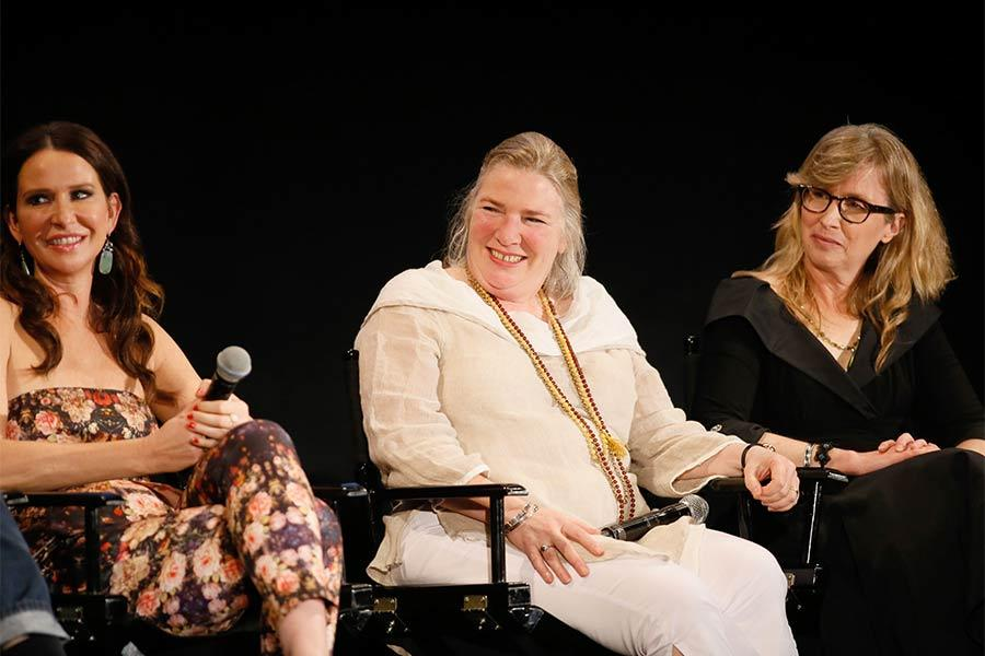 "Costume designer Janie Bryant, property master Ellen Freund, and set decorator Claudette Didul onstage at ""A Farewell to Mad Men,"" May 17, 2015 at the Montalbán Theater in Hollywood, California."