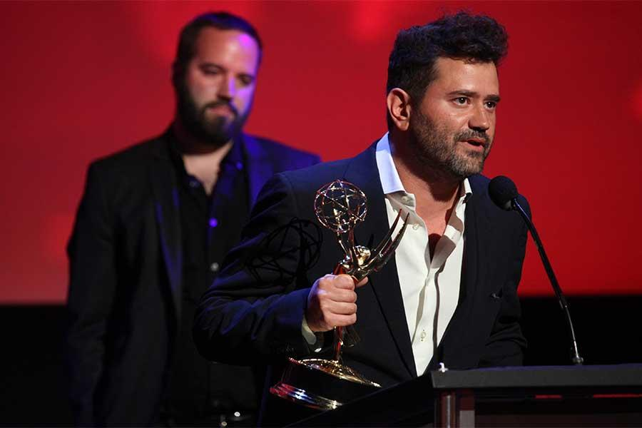 Juan Devis accepts an award at the 68th Los Angeles Area Emmys, July 23, 2016, at the Saban Media Center, North Hollywood, California.