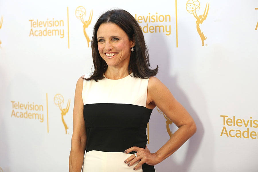 Julia Louis-Dreyfus arrives at the Montage Beverly Hills for the 2014 Performers Peer Group Primetime Emmy nominee reception.