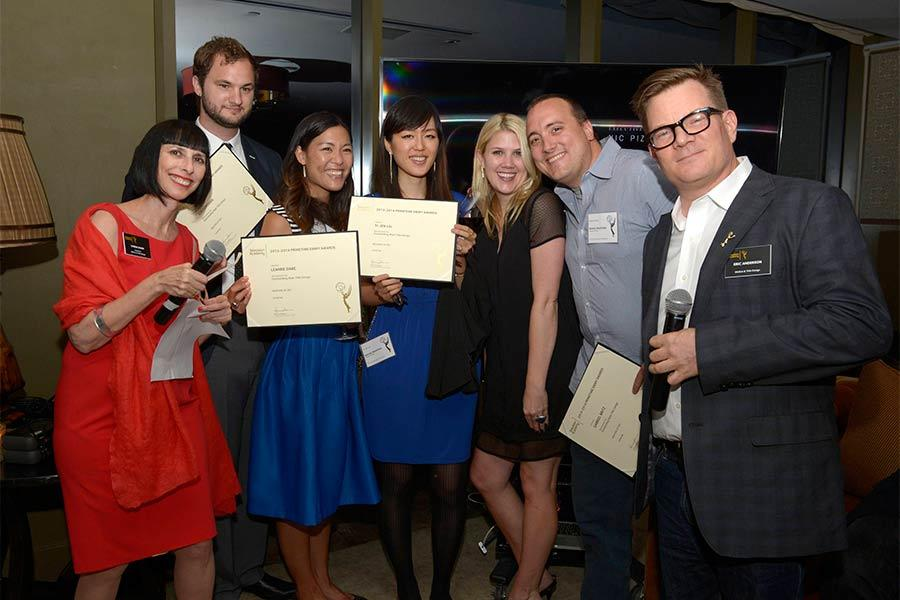 Television Academy governors Lynda Kahn and Eric Anderson present certificates to the Masters of Sex team at the Motion and Title Design Nominee Reception in West Hollywood, California.