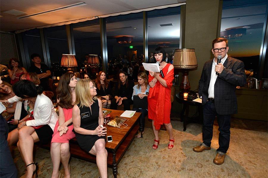 Television Academy governors Lynda Kahn and Eric Anderson address nominees and guests at the Motion and Title Design Nominee Reception in West Hollywood, California.
