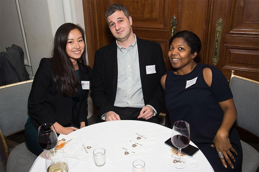 Katherine Pan, Brian Lutz, and Shashanna Rivera at the New York Networking Night Out, November 13, 2015 at the St. Regis in New York City.