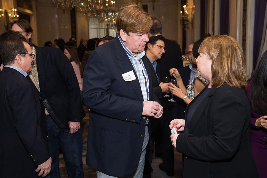 Kenneth Teaton and Barbara Held, Television Academy vice president, event production, at the New York Networking Night Out, November 13, 2015 at the St. Regis in New York City.