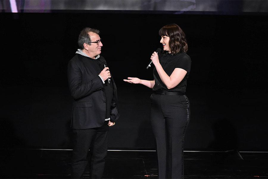 """Television Academy governor Kathryn Burns interviews Kenny Ortega at """"Whose Dance Is It Anyway?"""" February 16, 2017, at the Saban Media Center in North Nollywood, California."""