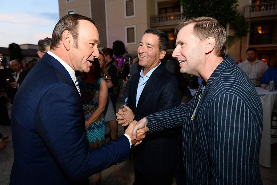 Kevin Spacey, Bruce Rosenblum and Maury McIntyre at the Performers Peer Group nominee reception.
