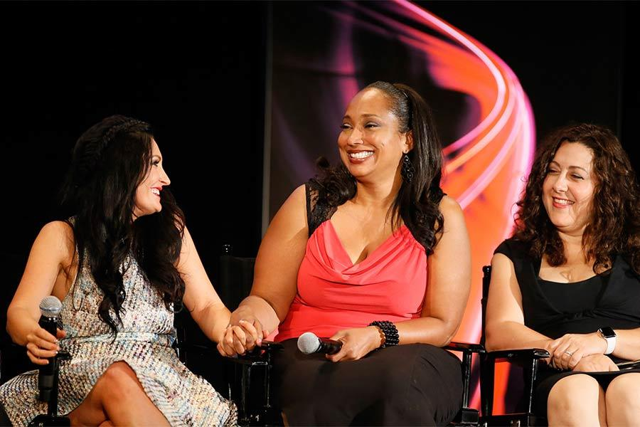 "Make-up department head Lana Horochowski, hair department head Theraesa Rivers and casting director Laura Schiff onstage at ""A Farewell to Mad Men,"" May 17, 2015 at the Montalbán Theater in Hollywood, California."
