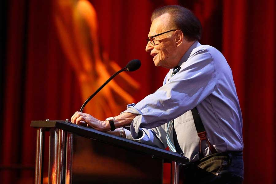 Larry King presents an award at the 68th Los Angeles Area Emmys, July 23, 2016, at the Saban Media Center, North Hollywood, California.