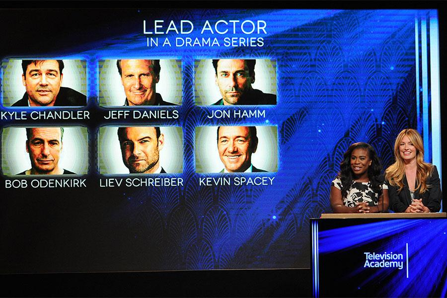 Uzo Aduba and Cat Deeley announce the nominees for Lead Actor in a Drama Series at the nominations announcement for the 67th Emmy Awards  July 16, 2015 at the Pacific Design Center in Los Angeles, CA.