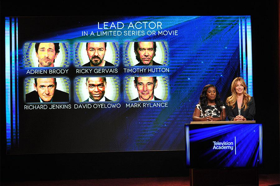 Uzo Aduba and Cat Deeley announce the nominees for Lead Actor in a Limited Series at the nominations announcement for the 67th Emmy Awards  July 16, 2015 at the Pacific Design Center in Los Angeles, CA.