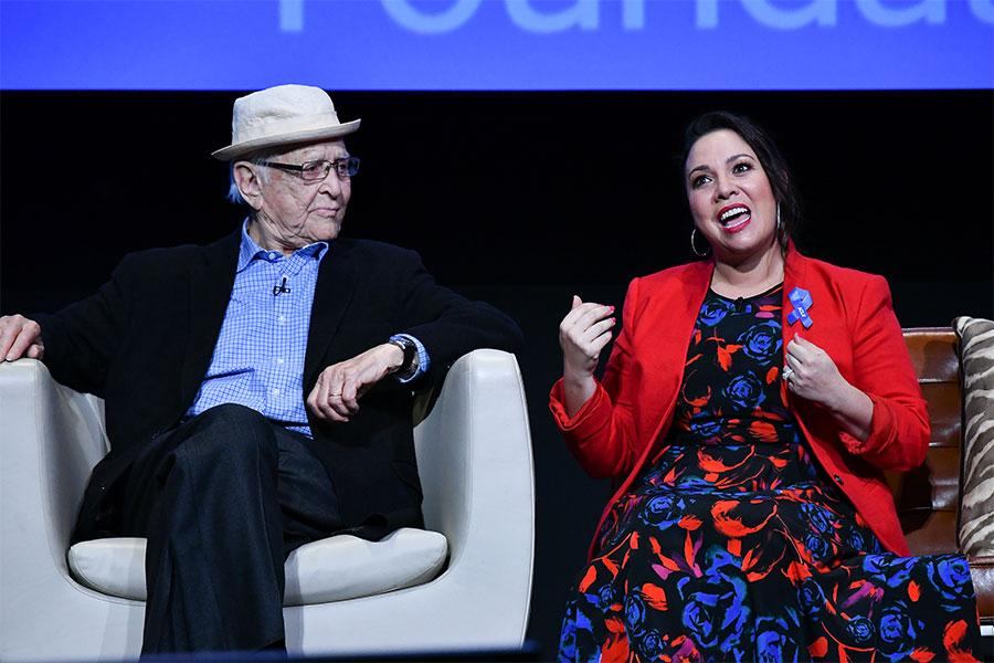 Norman Lear and Gloria Calderon Kellett onstage at The Power of TV: A Conversation with Norman Lear and One Day at a Time, presented by the Television Academy Foundation and Netflix in celebration of the Foundation's 20th Anniversary of THE INTERVIEWS: An