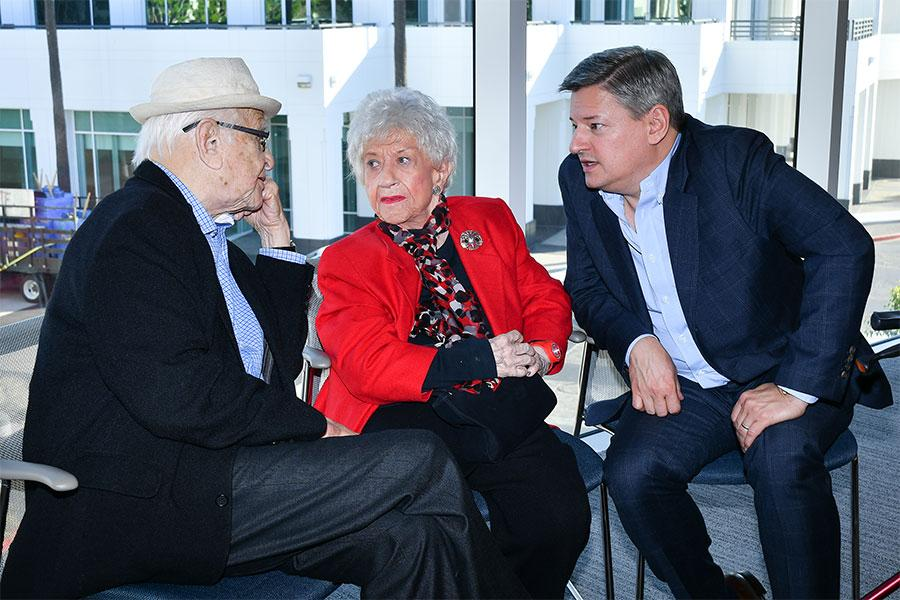 Norman Lear, Charlotte Rae, Ted Sarandos onstage at The Power of TV: A Conversation with Norman Lear and One Day at a Time, presented by the Television Academy Foundation and Netflix in celebration of the Foundation's 20th Anniversary of THE INTERVIEWS