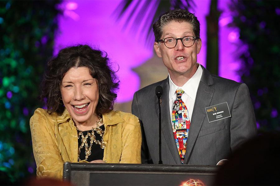 Performer Peer Group governors Lily Tomlin and Bob Bergen at the Performers Peer Group Celebration, August 22, 2016, at the Montage Beverly Hills in Beverly Hills, California.