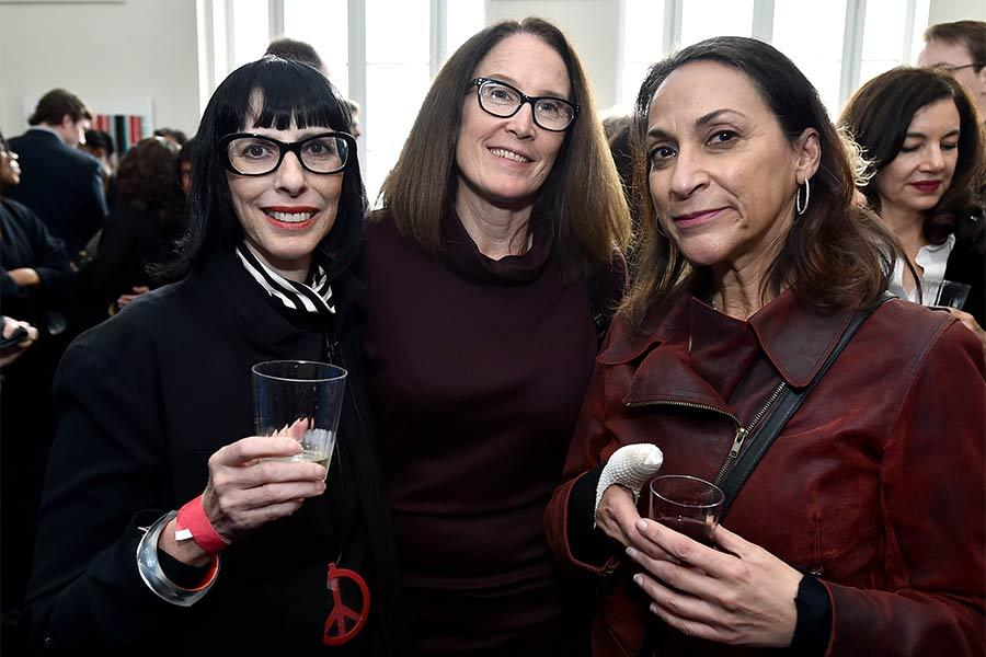 "Linda Kahn, Evelyn Wendel, and Patricia Judice attend the reception at ""A Farewell to Mad Men,"" May 17, 2015 at the Montalbán Theater in Hollywood, California."