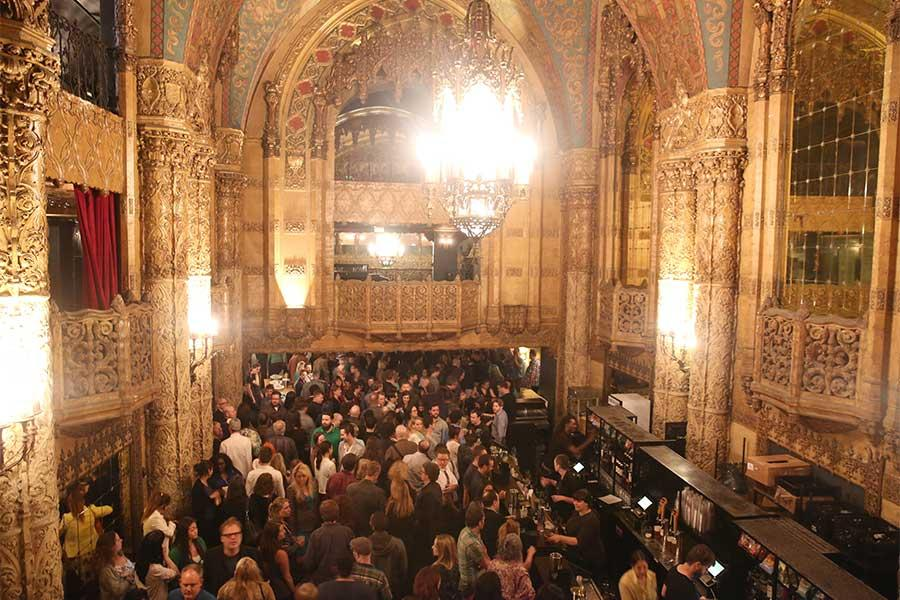 Panel attendees in the lobby of the Ace Theater at the reception following Transparent: Anatomy of an Episode, March 17, 2016 in Los Angeles.